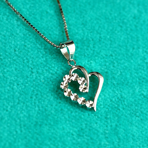 14K White Gold 'My Heart in Your's' Pendant and Chain