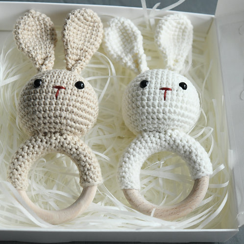 Crochet Bunny Rattle (Milk or Beige)-Newborn Gifts Singapore
