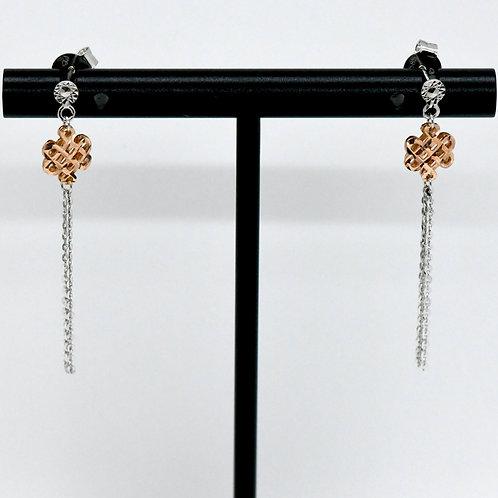14K Rose & White Gold Dangling Earrings
