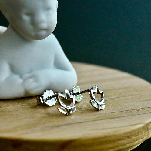 14K White Gold Earrings (Tulip)