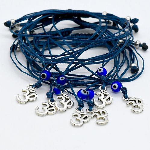 OM Bracelet with Evil Eye (dark blue) from Greece