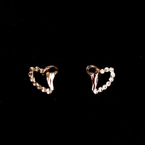14K Rose Gold and White Gold Heart Earrings