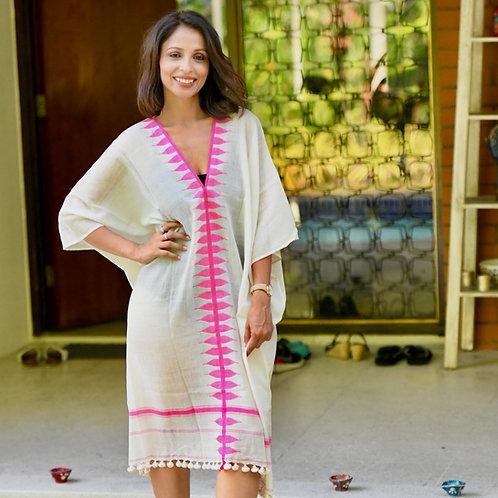 Beera Dress (Ivory + Pink)