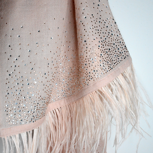 Crystal Embedded Pink Shawl with Ostrich Feathers