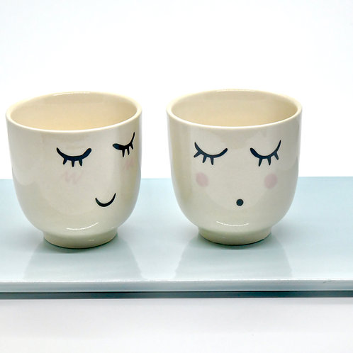 Cute White Stoneware cups (Set of 2)-Online Gifts Singapore