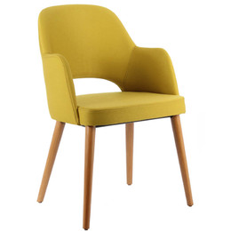 Upholstered chair with wooden frame