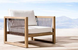 Outdoor patio single seater made of iroko