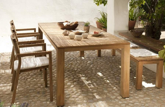 outdoor wooden table, chairs and bench