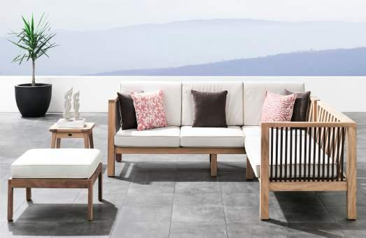 Outdoor patio corner seating made of iroko