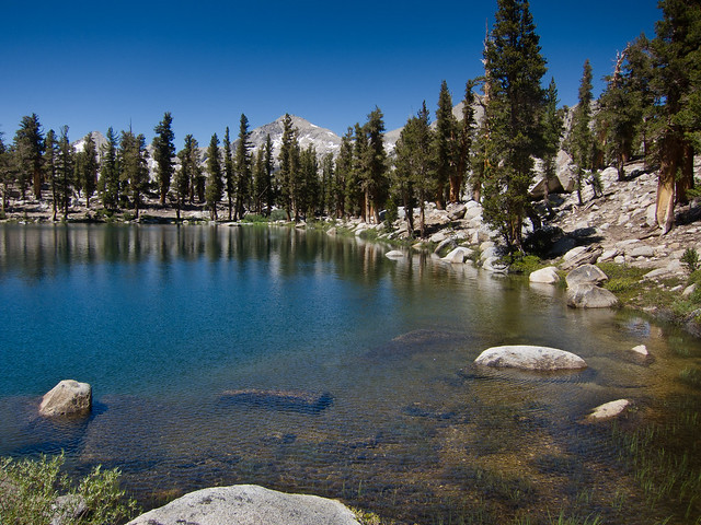 Little Claire Lake with view of Mt. Whitney in the Sierra Nevada Mountains in California