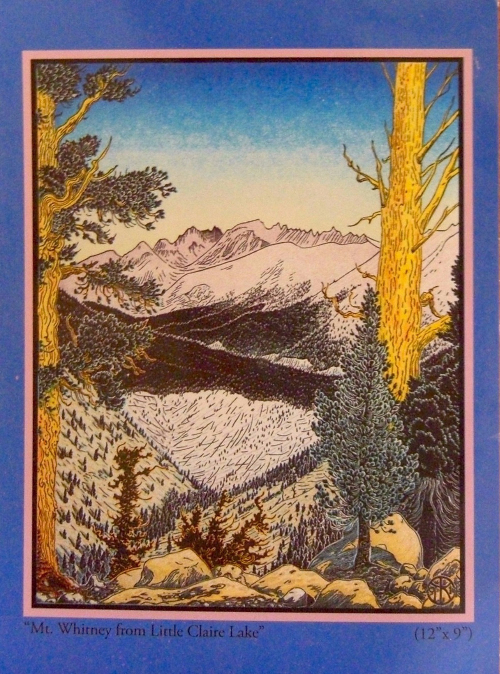 Tom Killion woodcut of Mt. Whitney from Little Claire Lake