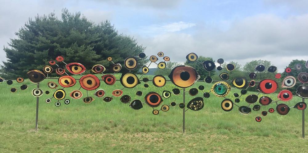 """Birds Watching"" sculpture by Jenny Kindler at Storm King Sculpture Garden. Eyes of birds in danger of extinction"