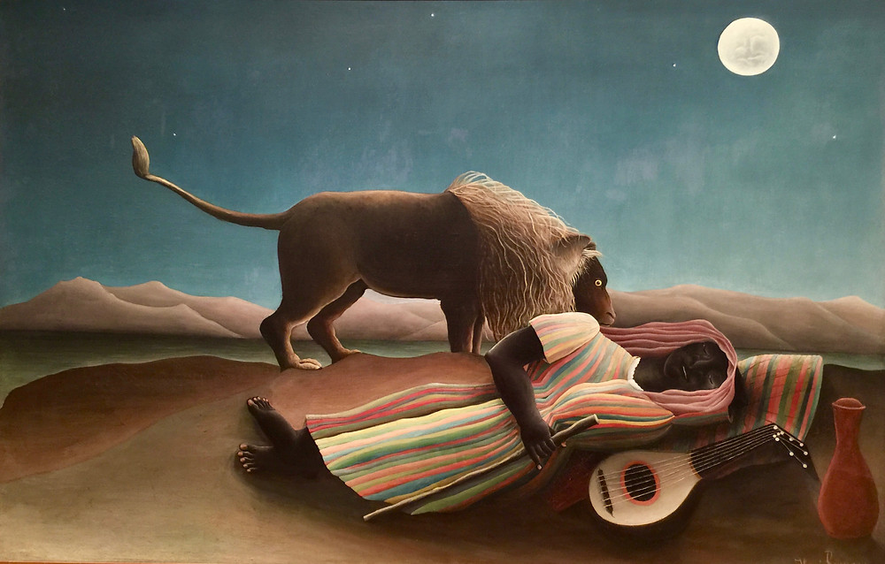Painting of Sleeping Gypsy by Henri Rousseau with moon in sky and lion muzzling the human