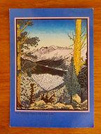 Woodcut by Tom Killion of Little Claire Lake and Mt. Whitney in Sierras