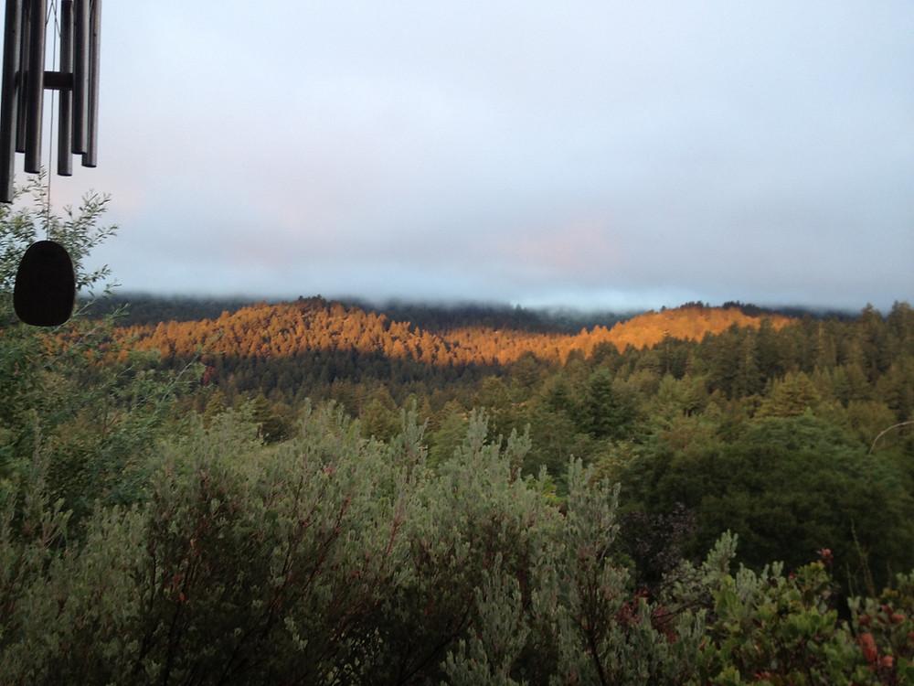 Alpen type glow on Santa Cruz Mountain ridge from home in Ben Lomond