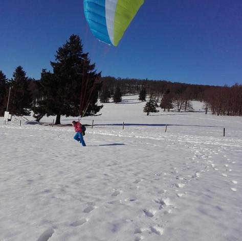 Erstflug im Winter