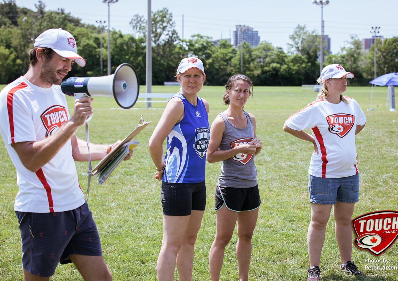 Left to right : Michael Housset (president), Jodi Richardson (director, Toronto touch Rugby), Charlotte Girondel (Director, Montreal touch rugby), Karen Stead (Consultant, Toronto touch rugby)