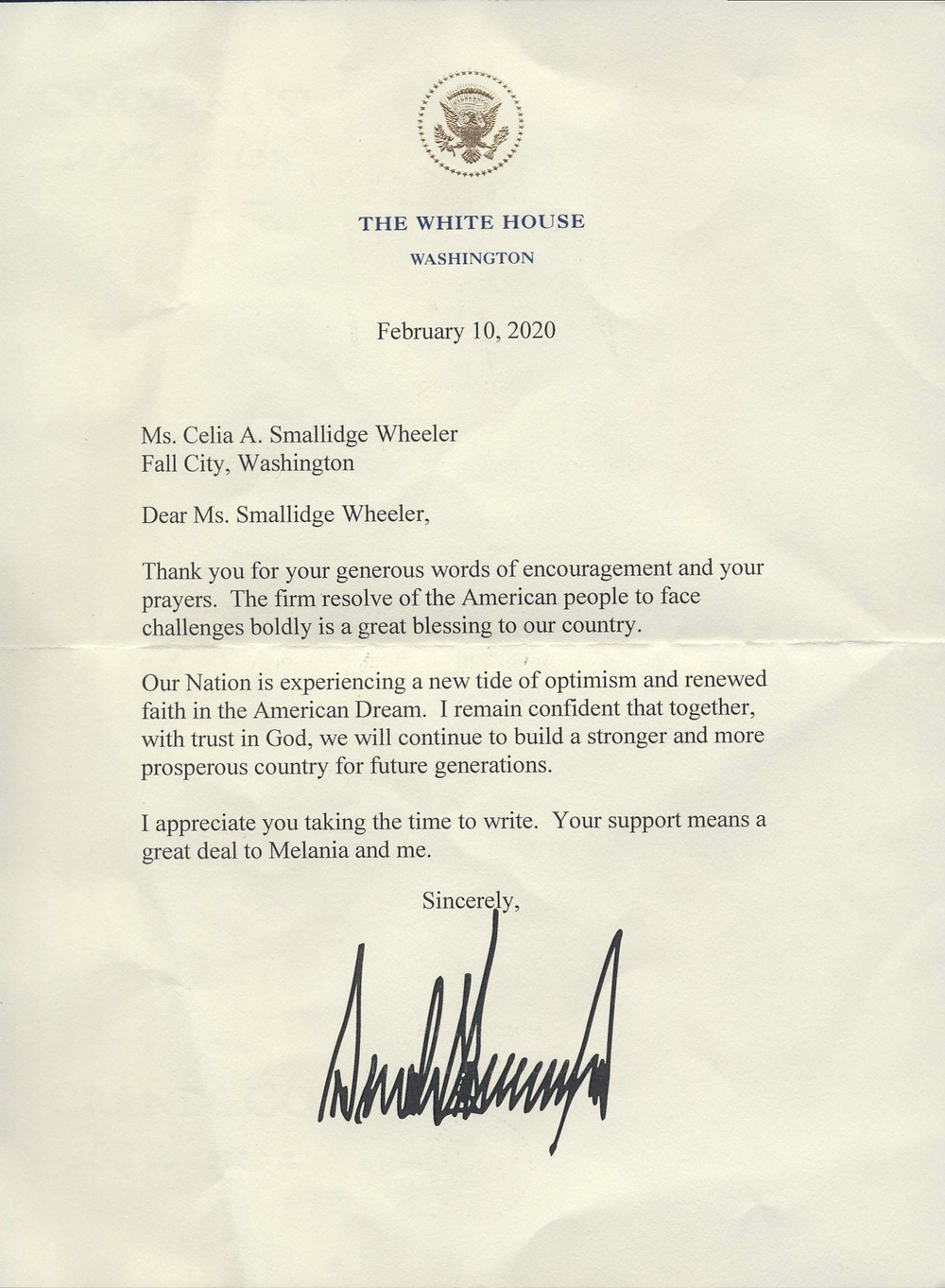 White House Letter from Donald Trump