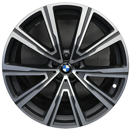 "22"" 2019-2020 BMW X5 X6 Machined Charcoal Rear Wheel 86472 Style 746"