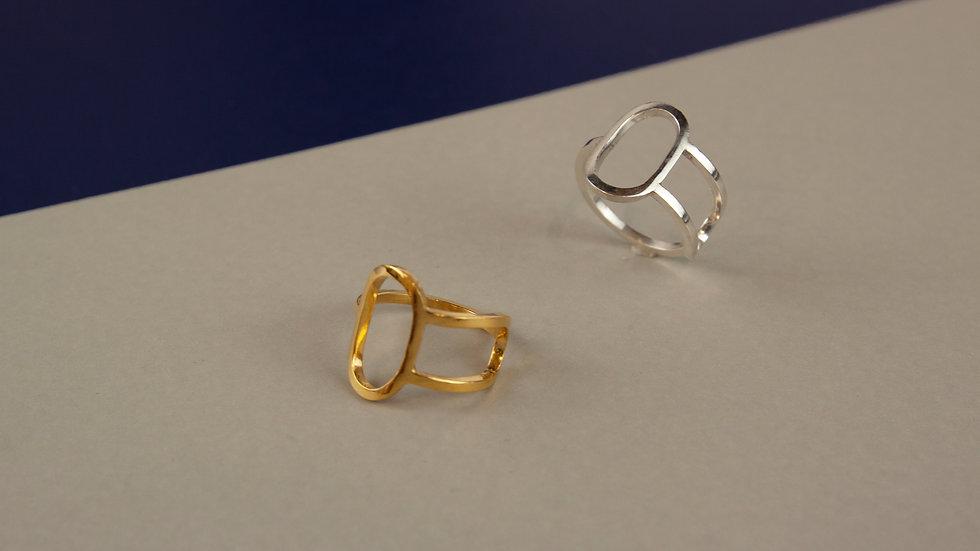 Oval Geometric Ring