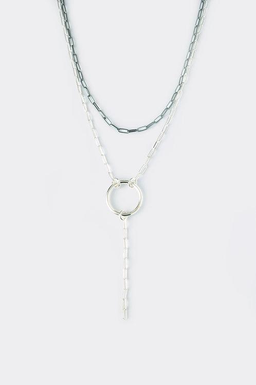Double Silver Chain (black)