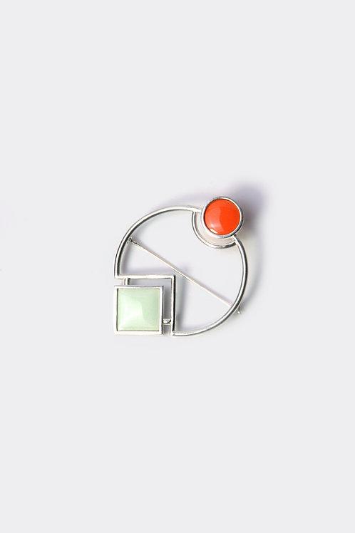 Enamel Brooch Orange/Peppermint