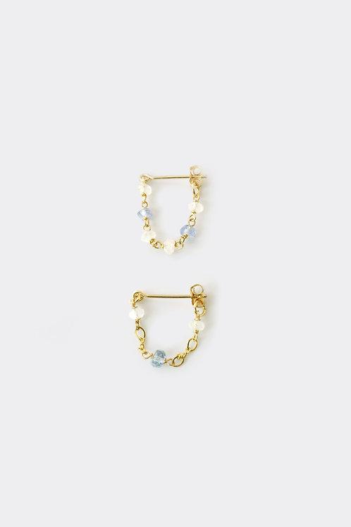 """""""Gold Filled Moostone Tanzanite  Loop Earring"""""""
