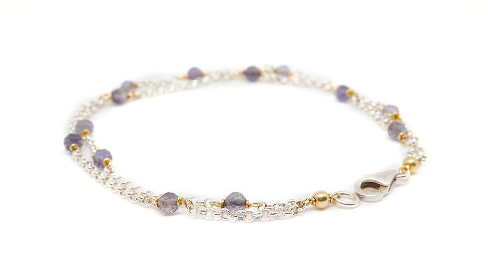 Silver iolite double chain bracelet