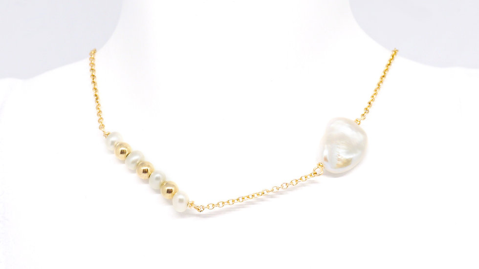 Baroque and freshwater pearl necklace