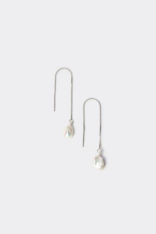Sterling Silver Chain Earrling (Baroque)