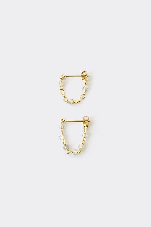 Gold Filled Labradorite Loop Earring