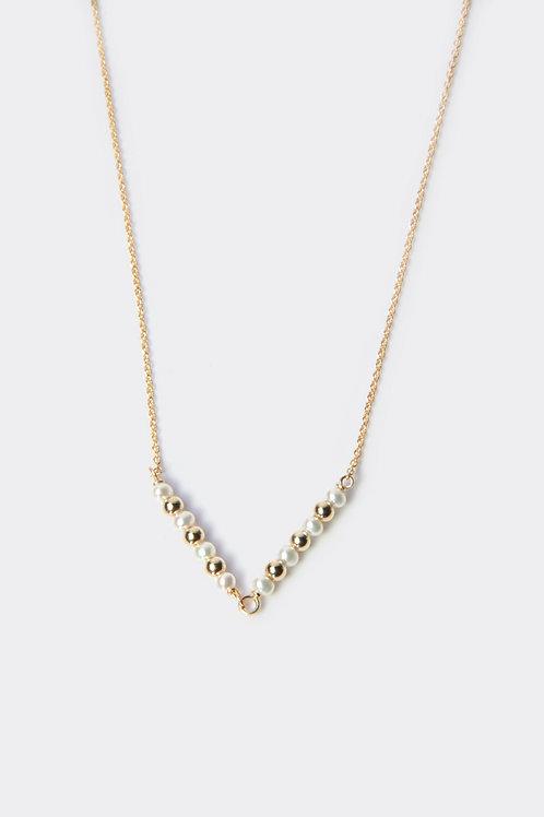 Gold Filled Pearl V Necklace