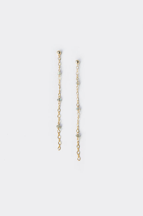 Gold Filled  Labardorite Earring (Chain)