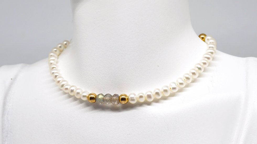 Pearl and labradorite choker/necklace