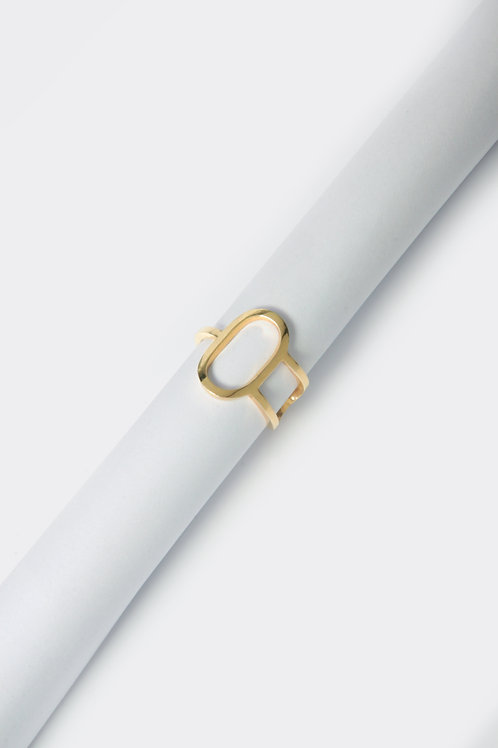 Duo Oval Ring (Gold Plated)