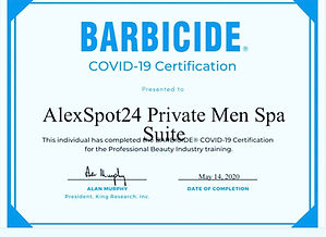 Alexspot24 men spa NYC safety certificat