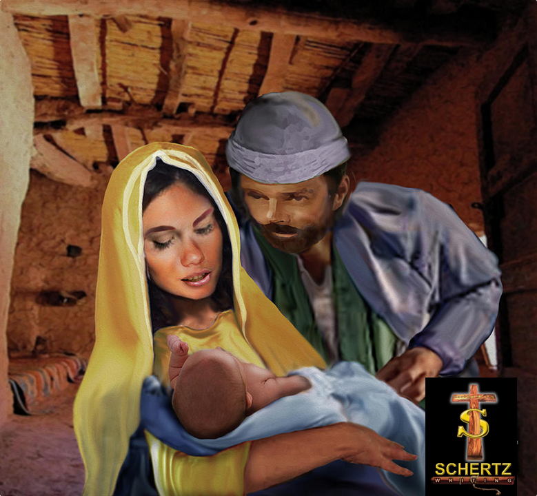 Mary Joseph and Baby Jesus in Manger.png