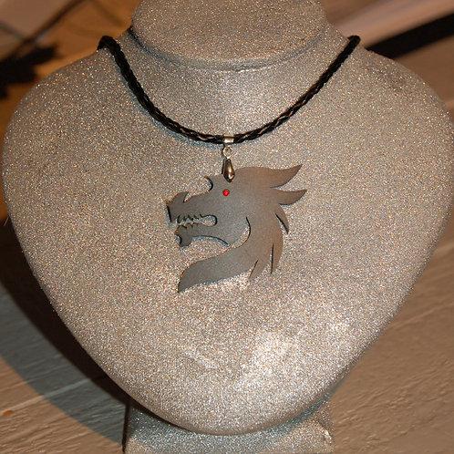 Collier tête de dragon noir