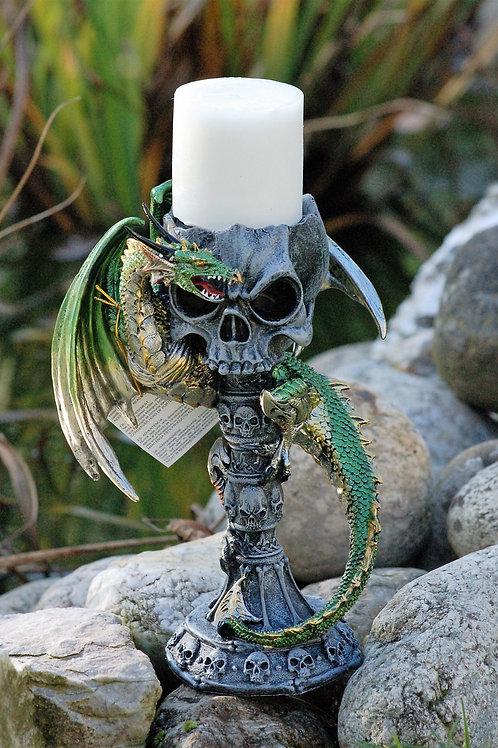 Bougeoir crâne avec dragon vert Dark Legends