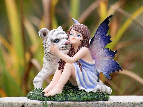 Fée enfant Lys et son tigre blanc