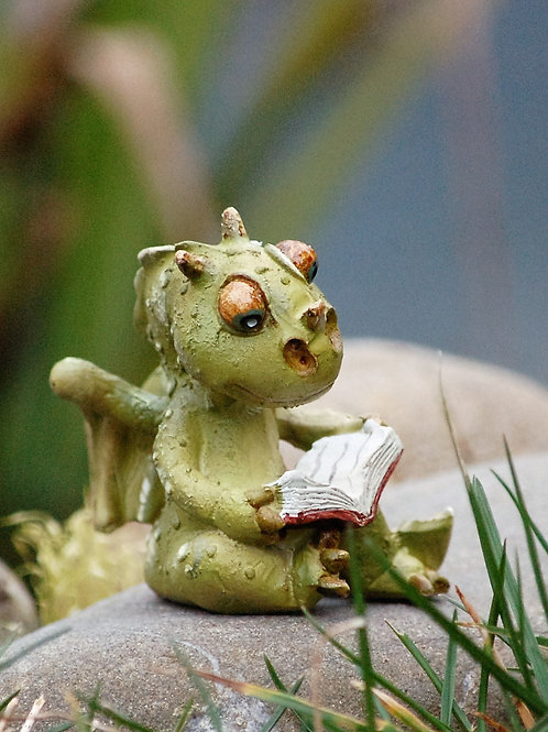 Bébé dragon lisant
