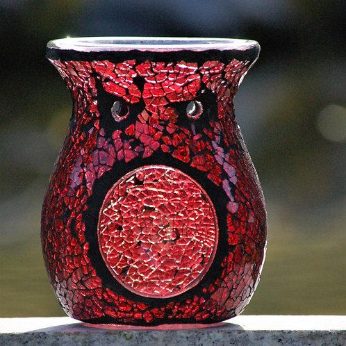 Brûleur de parfum Red Crackle Glass