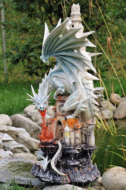 Dragon blanc sur château