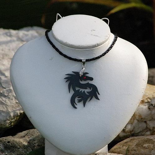 Collier dragon noir