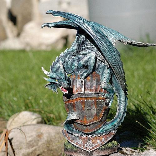 Dragon Orcïl, sur casque de chevalier