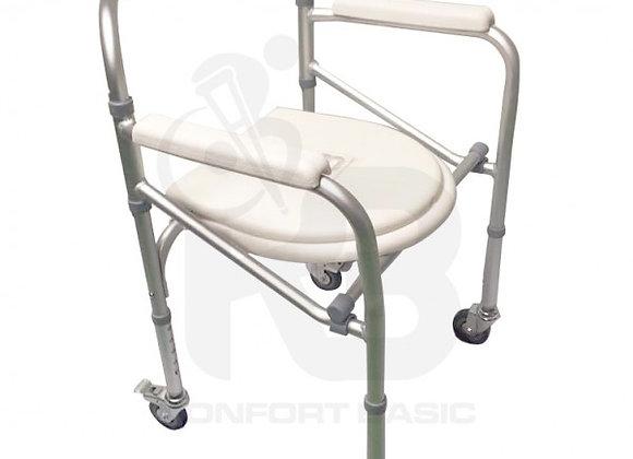 Cómodo Sanitario Plegable con Ruedas Aluminio Anodizado Konfort Basic