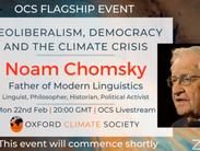 Hear from Noam Chomsky, the father of linguistics, with Oxford Climate Society