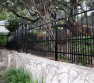 Ornamental iron picket-top iron fence with 'puppy panel' upgrade made by Austin Brothers Fence Co.