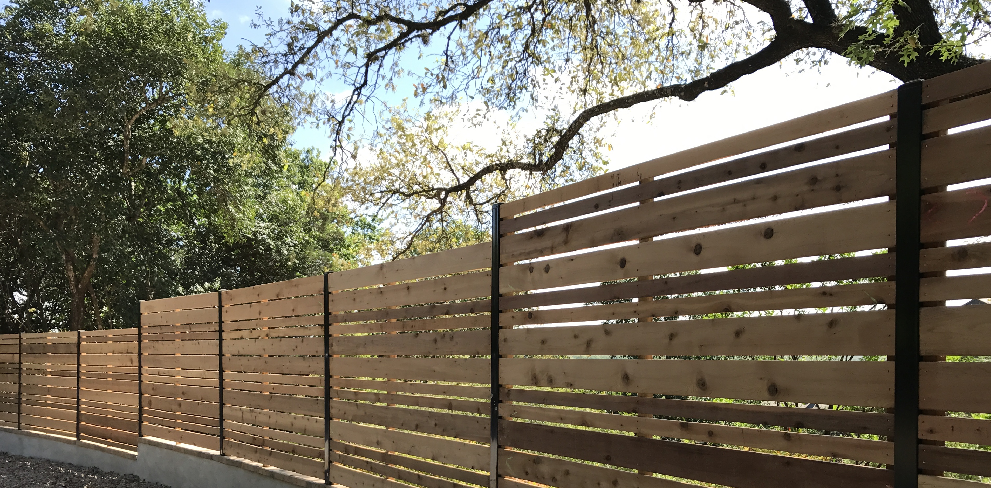 Austin brothers fence company quality fence installation semi private horizontal wood fence with custom alternating pickets and supportive mid rail upgrade made by austin brothers fence co baanklon Image collections