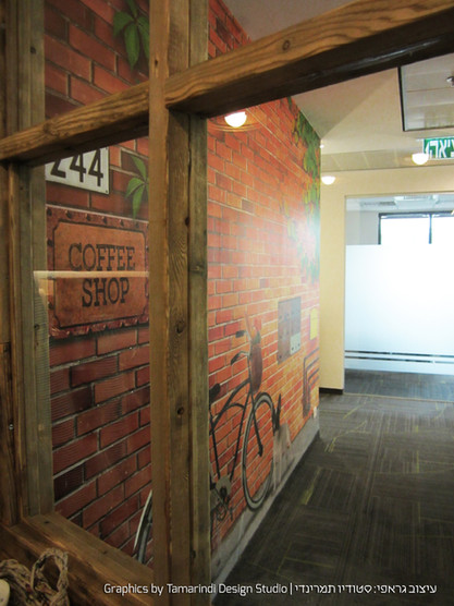 Wall graphics near cafeteria